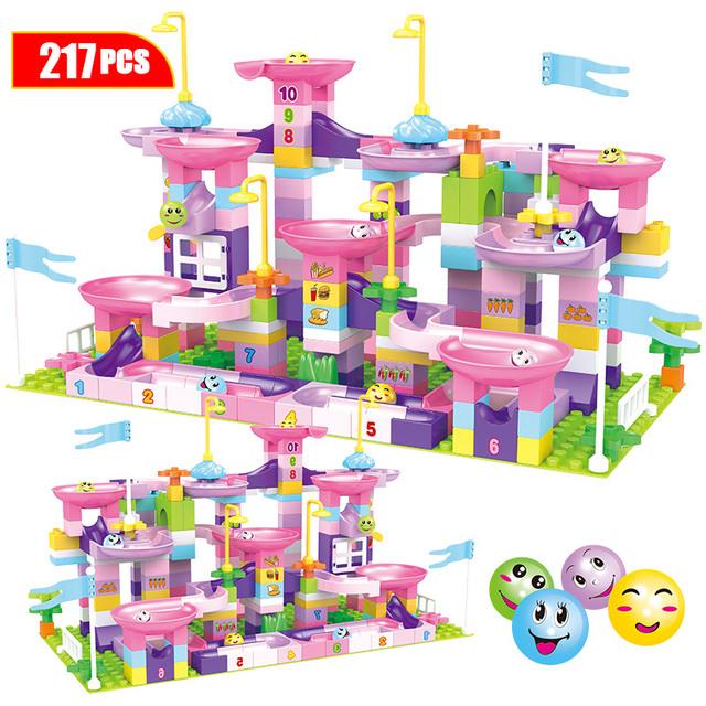 Creative Marble Race Run Maze Balls Track Building Blocks Compatible Duploed Big Size Funnel Slide Bricks Toys For Girls Kids