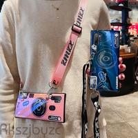 3D Camera case for xiaomi mi CC9 CC9E A3 8 se lite 6 5X 6X A1 A2 MIX2 MAX2 3 NOTE 2 F1 soft tpu cover coque Lanyard stand holder