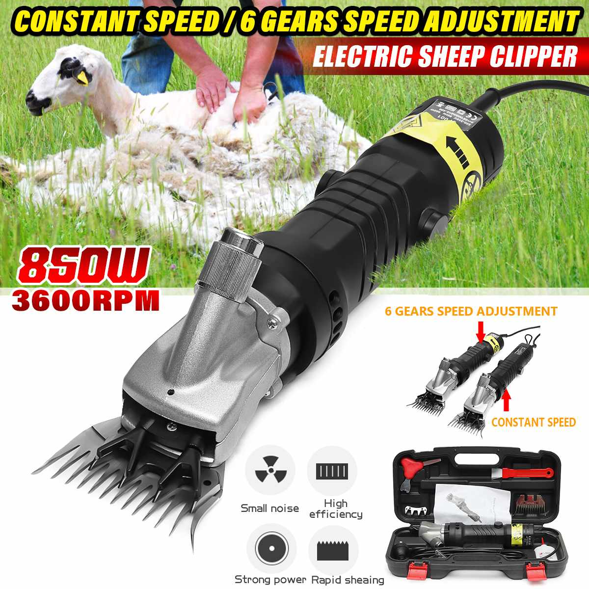 6 Gears Speed Electric Sheep Pet Hair Clipper Shearing Kit Farm Shear Wool Cut Goat Pet Animal Shearing Supplies 850W 220-240V