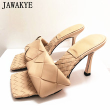 Slippers Sandals Women Square Toe Party-Shoes High-Heels Sexy Black Nude for Open Cross-Woven