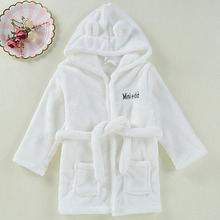 Флисовые халаты для маленьких мальчиков и девочек, детский халат, Кепка-капюшон, мягкий бархатный халат и пижама, детская теплая одежда кораллового цвета Милая одежда для малышей