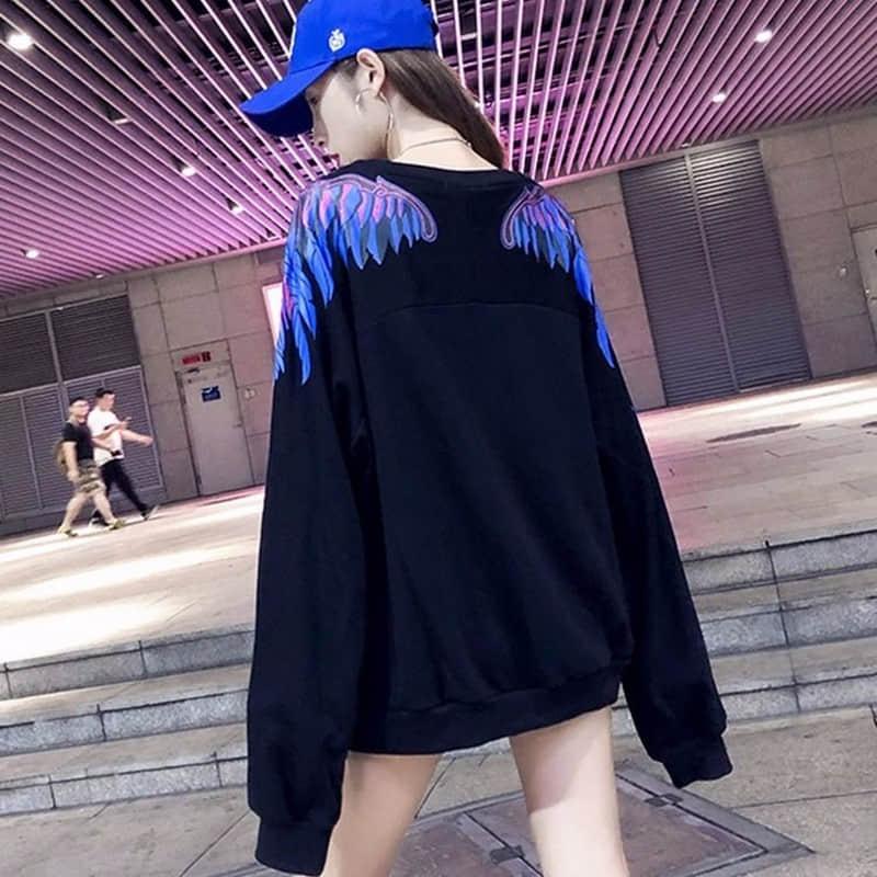 NiceMix New 2019 High Women 3D Feather Wing Fire Gentleman Hoodies Hoody Hooded Sweatshirts Velvet Cotton Drake Thicken Fleece
