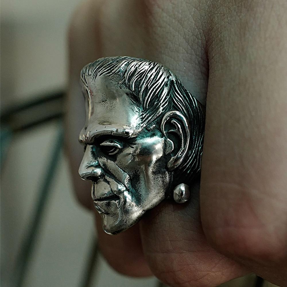 Closeout DealsEYHIMD Skull Ring Frankenstein-Rings Biker-Jewelry Science-Fiction Horror Punk Stainless-Steel