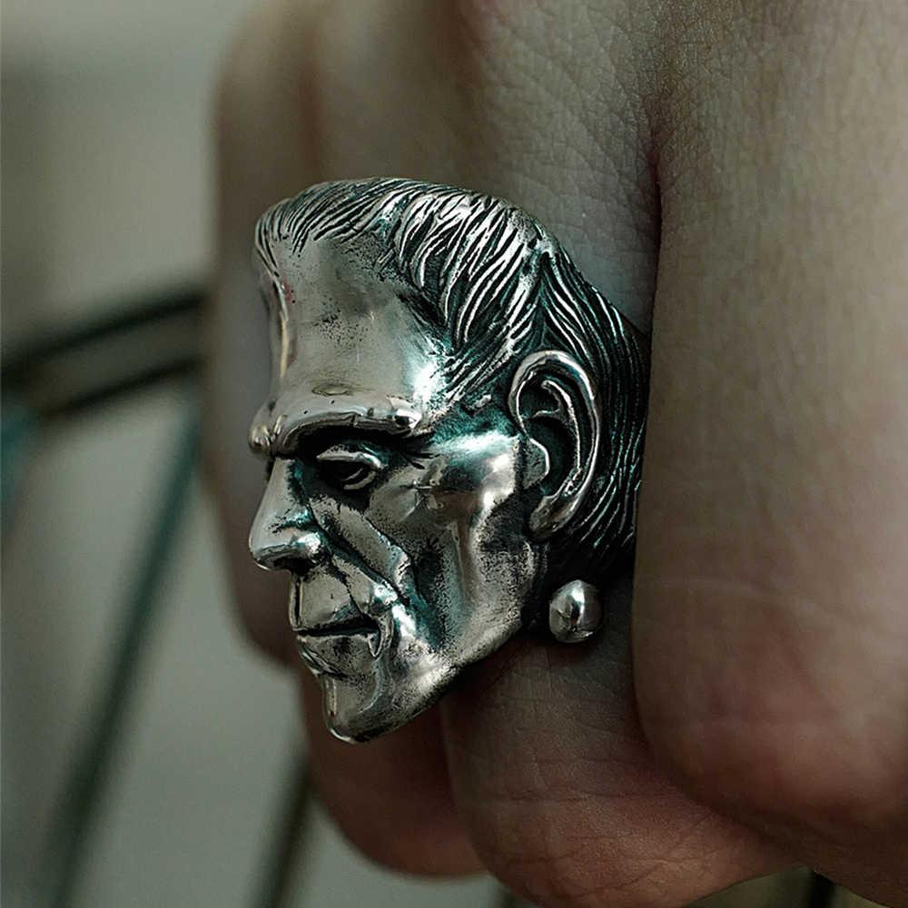 EYHIMD science fiction Victor Frankenstein pierścionki Punk srebrny Horror naukowiec czaszka ze stali nierdzewnej pierścień męska biżuteria dla rowerzystów
