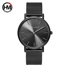 Japonia mechanizm kwarcowy siatka ze stali nierdzewnej nowy Top luksusowe wodoodporne mężczyźni Ultra cienki prosty zegarek na rękę moda Casual zegarki