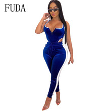 FUDA Bandage Jumpsuits for Women Blue Bodycon Two Pieces Sets Sexy Hollow Out Tie-up Sleeveless Femme Bodysuit Romper Long Pants