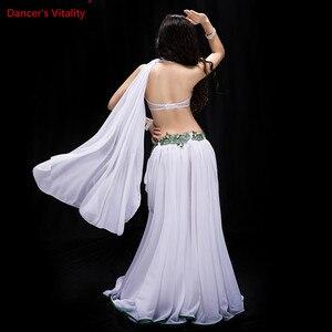 Image 4 - חדש נשים ריקוד תחרות תלבושות 3 חתיכה סט ריקוד מזרחי ביצועים להראות ללבוש בלינג בלינג מקסימום חיצוני פנל אדום לבן