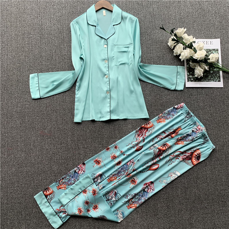 New Spring Pajama Long Sleeve Thin Pyjamas Women Korean Personalized Home Clothing Simulation Silk Two Sets Printed Pijama Mujer