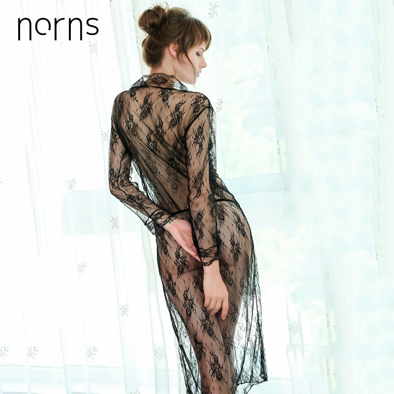 NORNS Sexy Mesh Women TransparentLingerie V-Neck Embroidery Nightwear Lace Plus Size Pajamas Kimono Bow Lingerie Robe