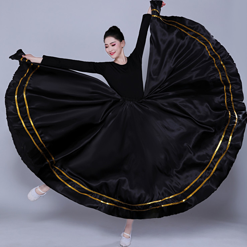 Black Traditional Spanish Flamenco Skirt Gypsy Women Dancing Costume Striped Satin Smooth Big Swing Skirts Belly Clothes DL5156