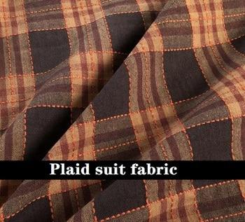 Nueva moda café Plaid traje material Vintage marrón Plaid anti arrugas lana mezclada traje tela pantalones tela