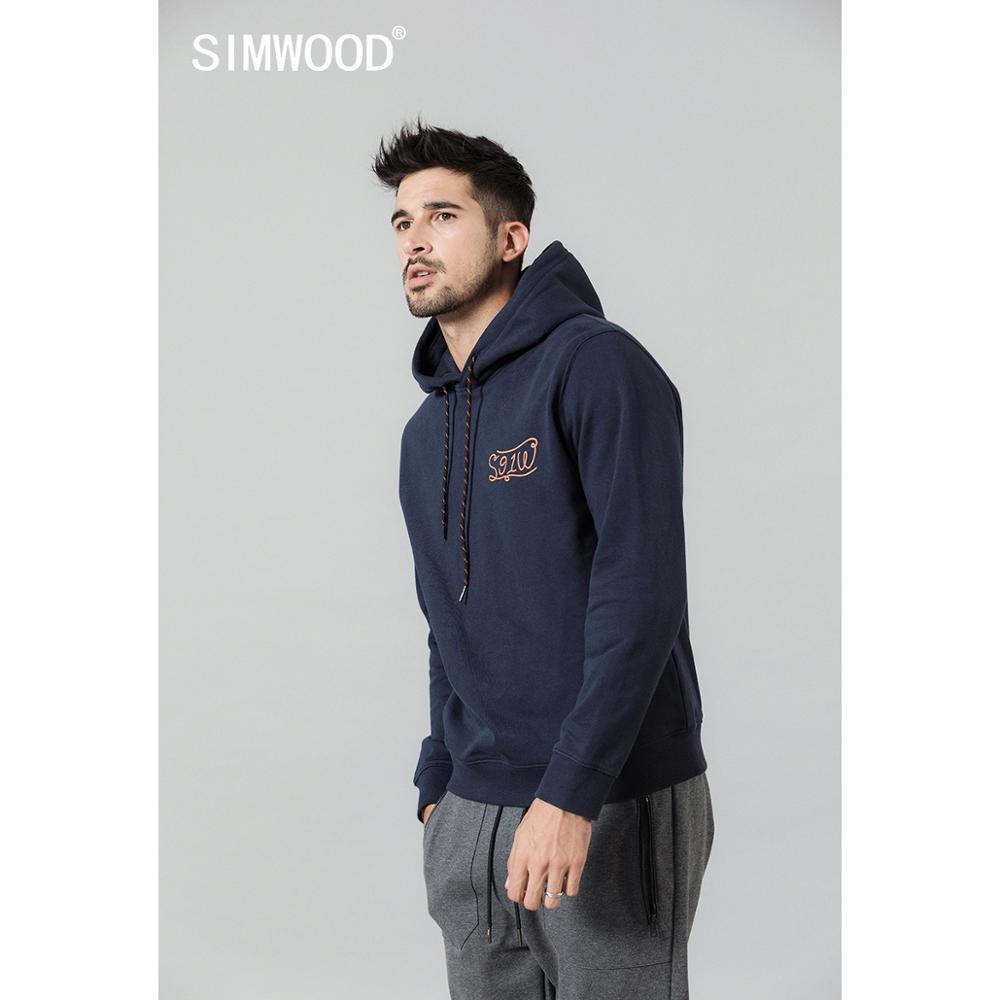 SIMWOOD Spring New Hoodies Men Fashion Hooded Logo Print Sweatshirts Jogger Tracksuits Brand Clothing  SI980685