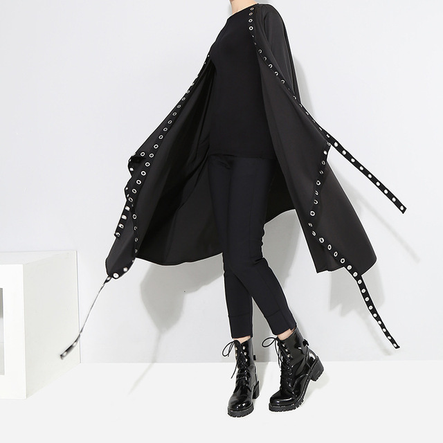 [EAM] Loose Fit Black Hollow Out Ribbon Pleated Big Size Jacket New V-collar Long Sleeve Women Coat Fashion Spring 2021 1D756 3