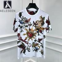 AELESEEN Vintage Cotton Tees 2020 Women Crown Angel Flower Print Summer T shirt Beading Gothic Streetwear White Top Punk T Shirt