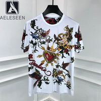 AELESEEN Vintage Cotton Tees 2020 Women Crown Angel Flower Print Summer T shirt Beading Gothic Streetwear White Top Punk T Shirt