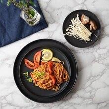 Japan and South Korea christmas ceramic plates pasta pizza Pan round household pendulum breakfast tray cake black flat plate
