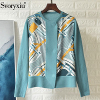 Svoryxiu Designer High End Silk Chain Print Patchwork Cashmere Wool Knitting Cardigan Women's Autumn Winter Sweater Knitting