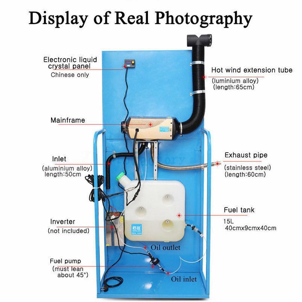 12V 5000W LCD Monitor Air Diesels Brandstof Kachel Single Gat 5KW Vracht Voertuigen Vans Accu Auto Afstandsbediening controle Silencer - 4