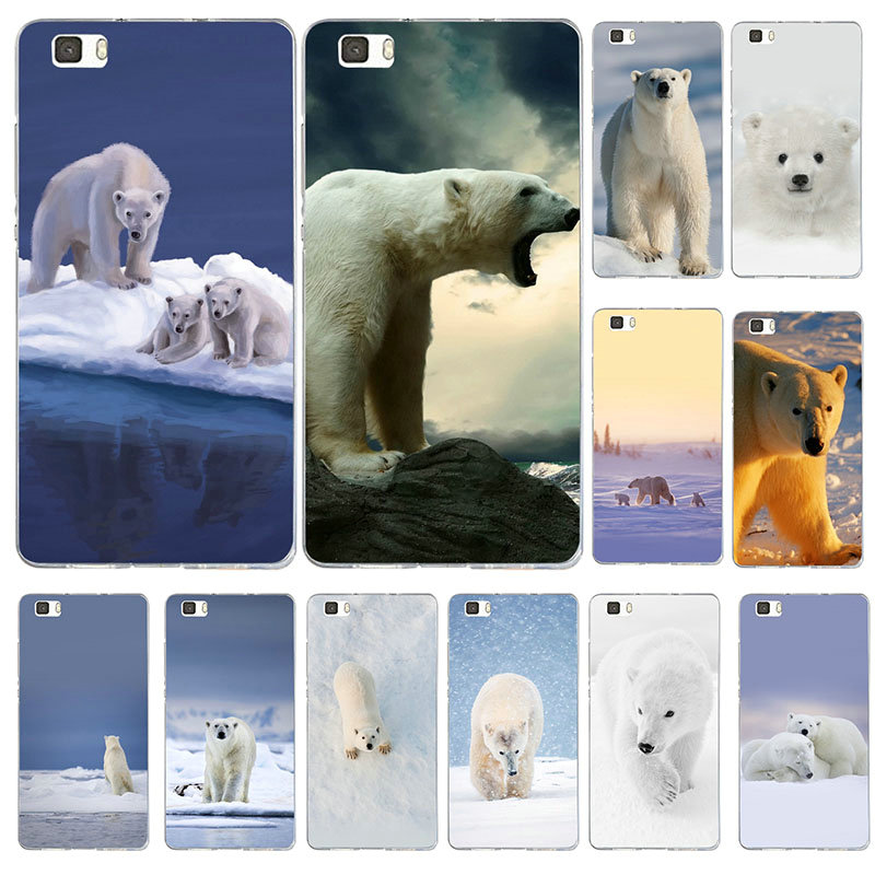 Soft Phone Cases TPU for Huawei Honor Mate Nova 2 4C 5 5A 5C 5X 7 V8 8 V9 9 10 20 Lite Pro Shell Lovely Animal White Polar Bear image