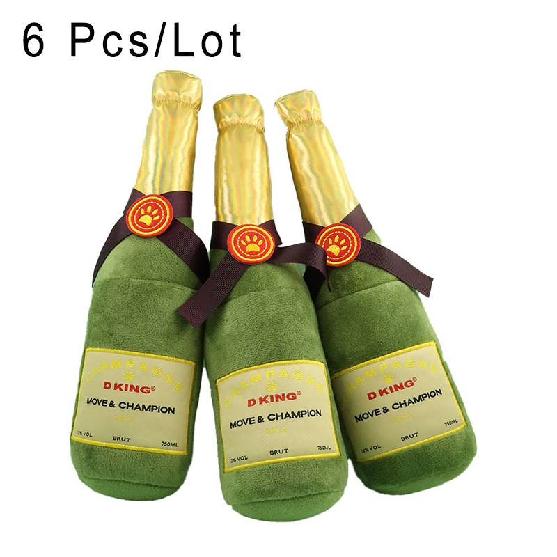 6 Pcs High Quality Elegant Champagne Wine Simulation Bottle Dog Puppy Squeaky Toy Sounder Inside Beer Dog for Labrador Retriever