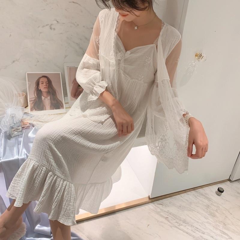 Autmn New Cotton Sweet Lace Princess Women  Robe Twinset Spaghetti Strap Cardigan Set Pajamas