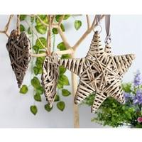 Mimbre Natural redondo/Corazón/Estrella colgando decoración boda Navidad Fiesta en casa decoración-corazón/estrella/redondo