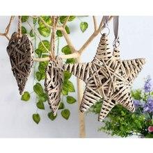 Natural vime redondo/coração/estrela pendurado decoração de casamento natal decoração de festa de casa-coração/estrela/redondo