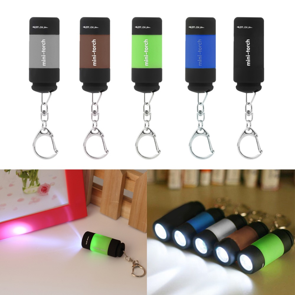 2017 Popular Mini Keychain Pocket Torch USB Rechargeable LED Light Flashlight Lamp 0.3W 25Lm Multicolor Mini-Torch