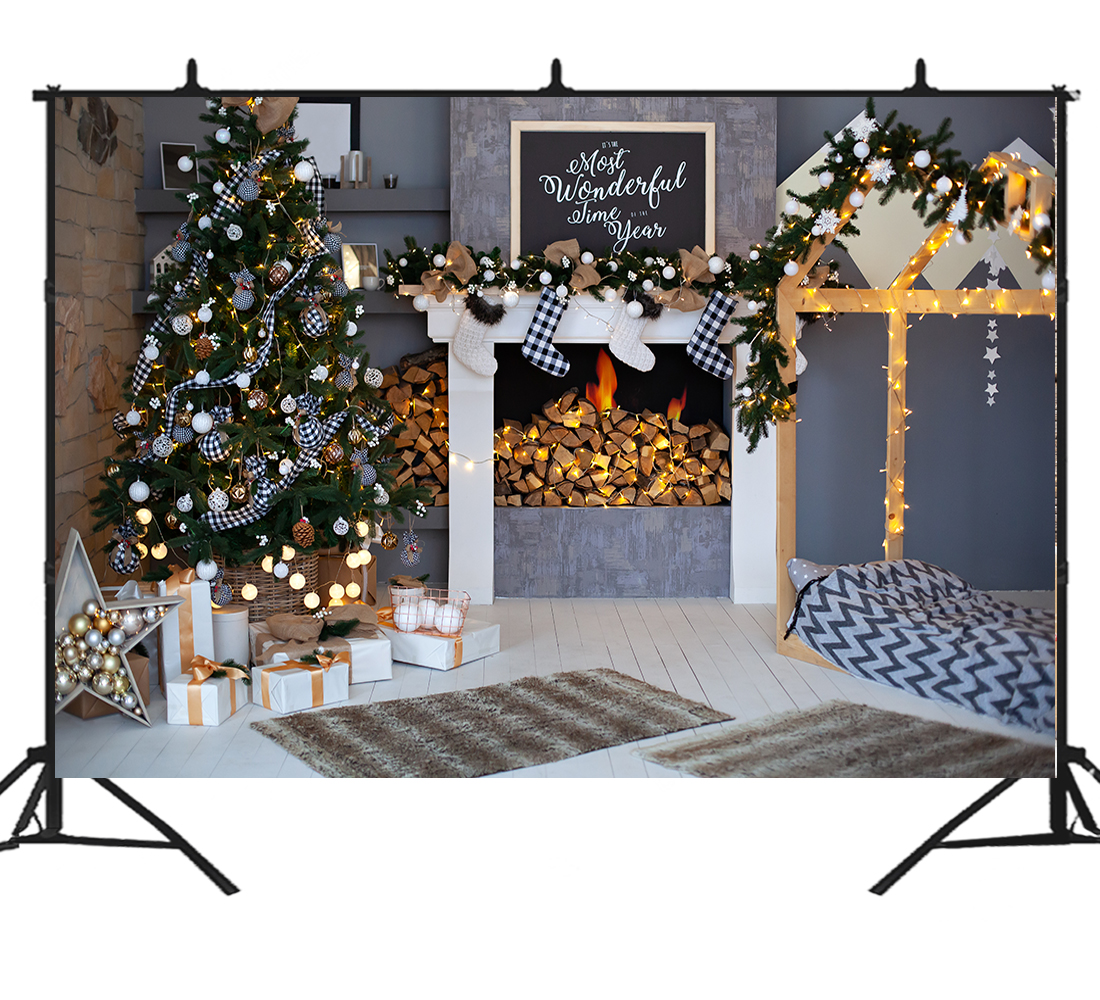 Christmas tree Fireplace background <font><b>Xmas</b></font> photography backdrop photo prop <font><b>for</b></font> photoshop Santa New year family <font><b>holiday</b></font> <font><b>home</b></font> <font><b>decor</b></font> image