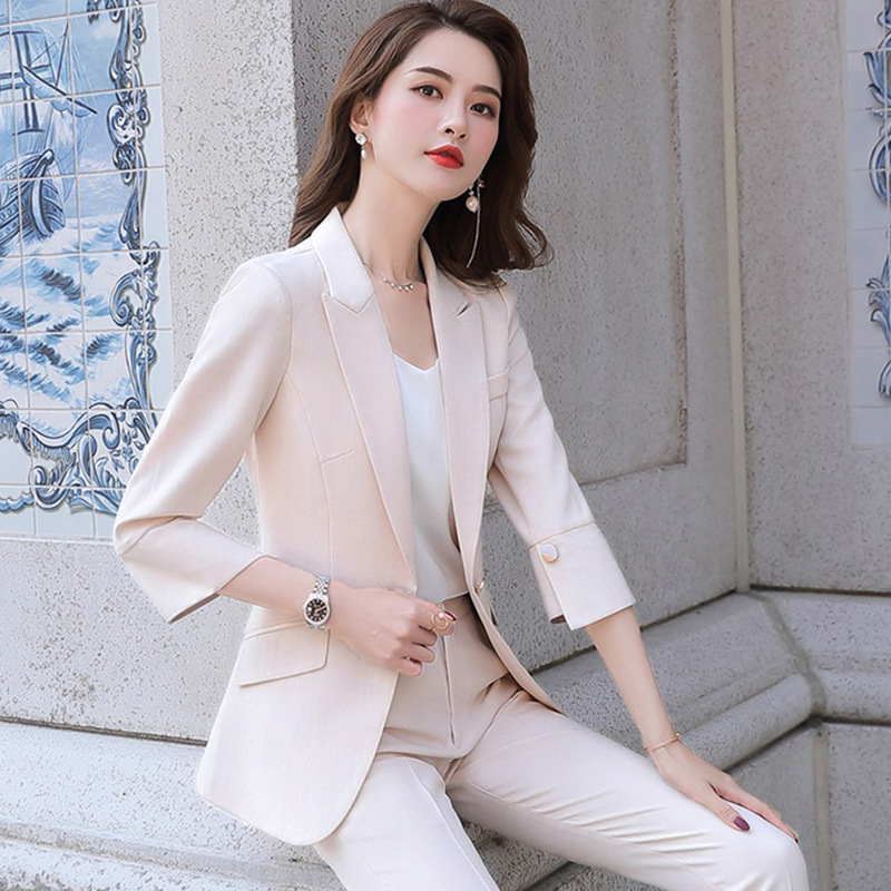 Elegant Stripe Blazer Women Formal Suit Jacket Office Lady Notched Single Button Fashion Casaul Outwear 2019,Black,M
