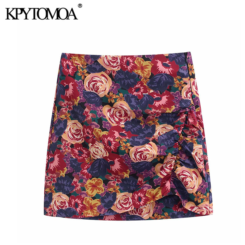 Vintage Stylish Floral Print Ruched Detail Mini Skirt Women 2020 Fashion High Waist Size Zipper Female Skirts Chic Faldas Mujer