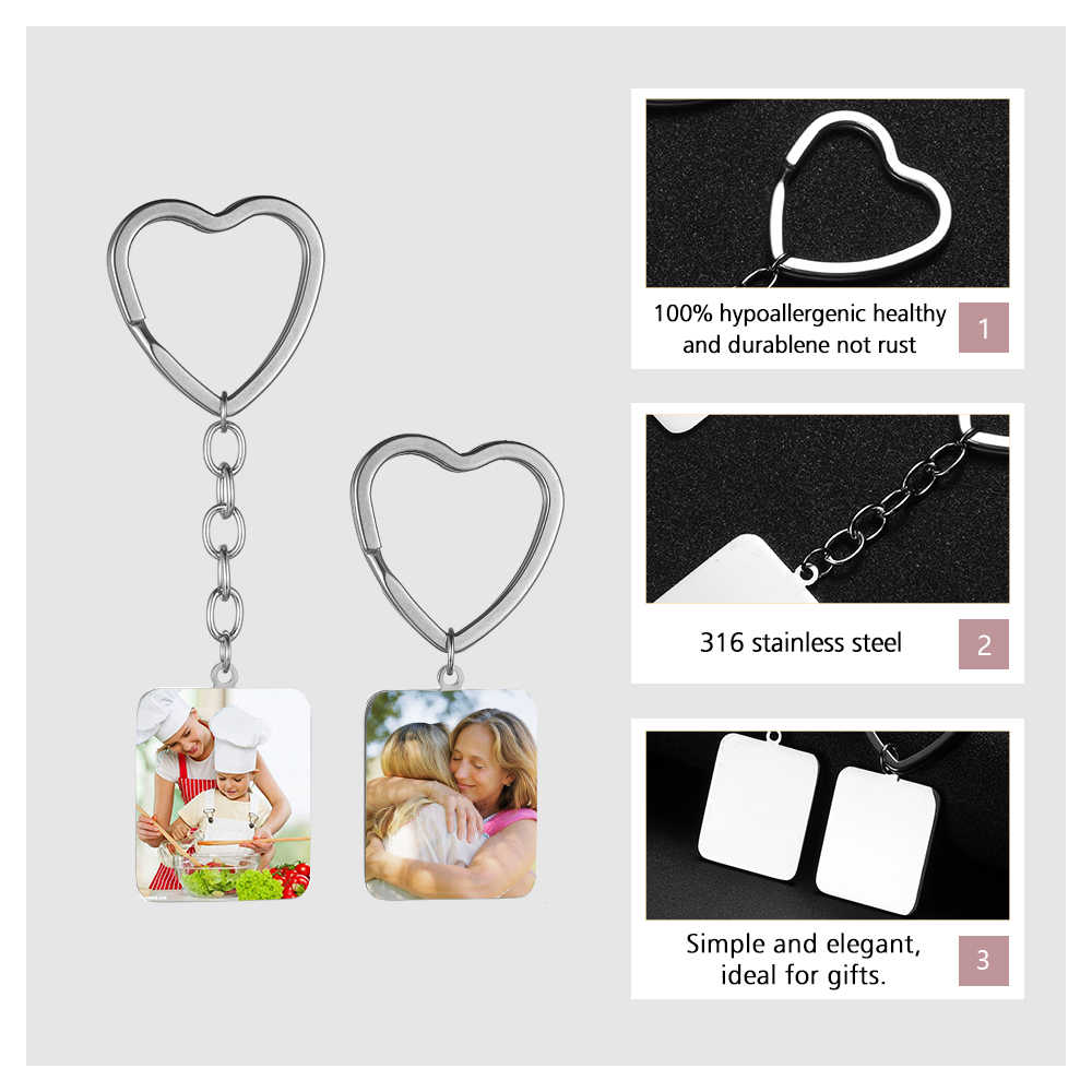 אישית לב KeyChain תמונה אישית מפתח שרשרת לחרוט שם כיכר Keyring תכשיטי נשים ילדה משפחה לשנה חדשה