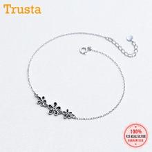 Flower-Anklets Jewelry Sterling-Silver Girls Women Trustdavis for Fashion Gift/ds803