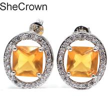 Big Gem 22x18mm Golden Yellow Citrine Womans Party Engagement 925 Silver Earrings 40x20mm