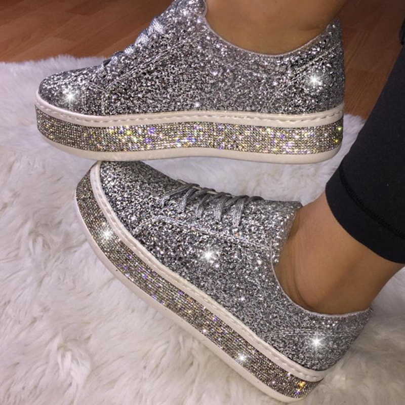 2020 New Women Glitter Flat Sneakers Casual Female Mesh Lace Up Bling Platform Comfortable Plus Size Vulcanized Shoes Knitting