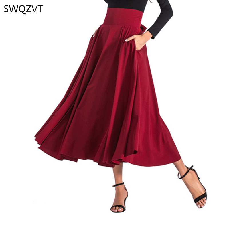 2020 New Fashion Women Long Skirt Casual Spring Summer Skirt womens Elegant Solid Bow-knot A-line Maxi Skirt Women Cothes 12