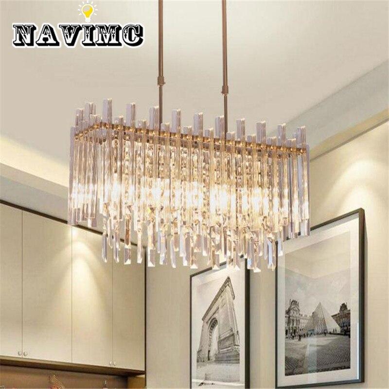 Modern Rectangular LED Transparent Crystal Bedroom Chandelier for Living Room Hotel Decoration