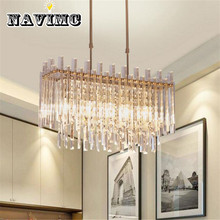 Modern Rectangular LED Transparent Crystal Bedroom Chandelier for Living Room Hotel Decoration