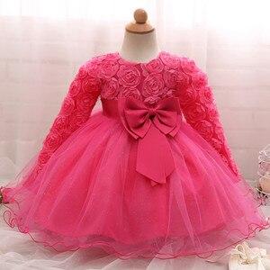 Image 5 - Vestido de manga larga de encaje para niña, vestidos de flores para bautizo, para niña, primer año, fiesta de cumpleaños, boda, ropa para bebé