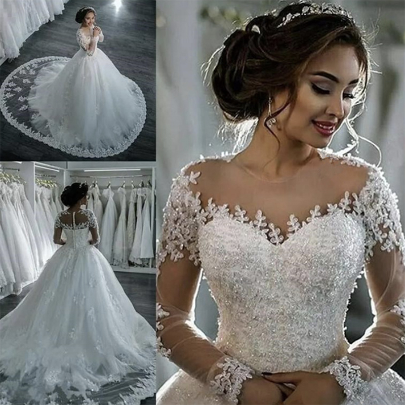Fansmile 2020 Luxury Lace Embroidery Vestido De Novia Long Sleeve Wedding Dress Train Elegant Plus Size Bridal Gowns FSM-035T
