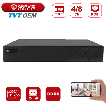 Anpviz NVR H.265 TVT OEM 4CH/8CH Output 5MP Real Time Recording POE P2P Onvif 25fps Remote View In Stocks - discount item  35% OFF Video Surveillance