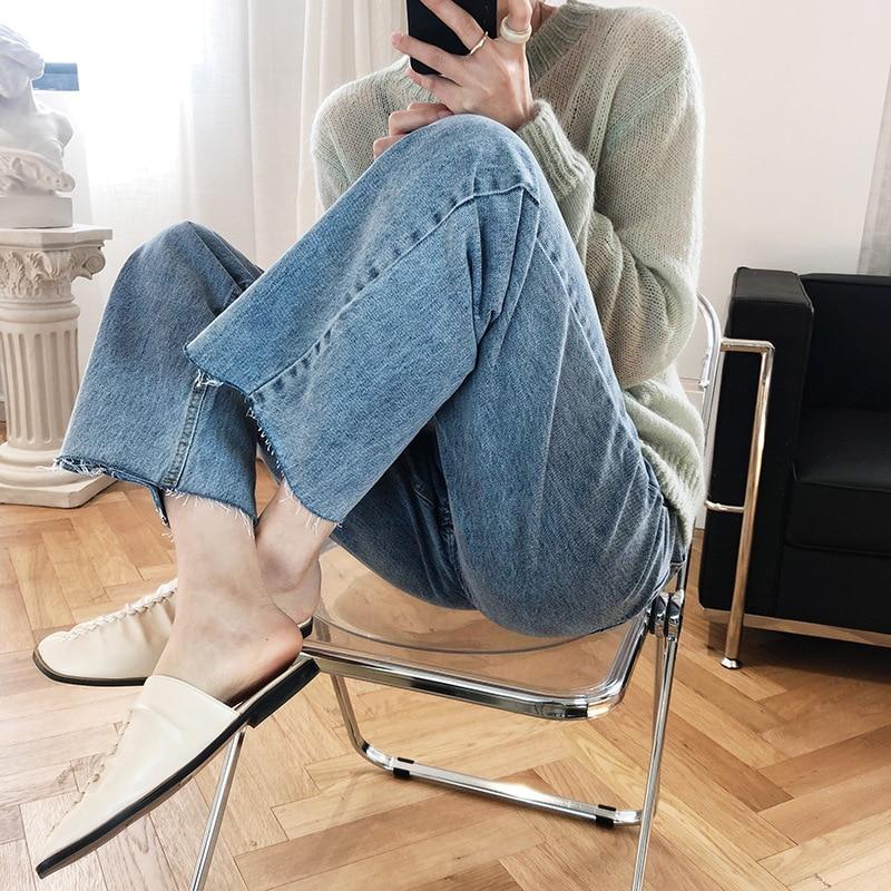 2020 Women Spring Jeans High Waist  Wide Leg Denim Pants With Belt Women Vintage Denim Jeans Korean Trousers Female Pantalon