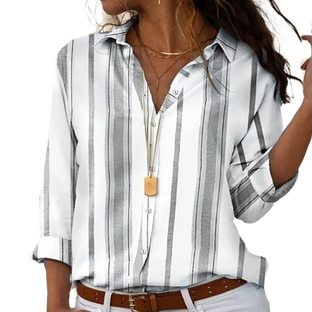 Spring Women Striped Blouse Shirt Chiffon Long Sleeve Turn Collar Female Top Chothes Casual Plus Size 5XL Loose Girls Blouses 6