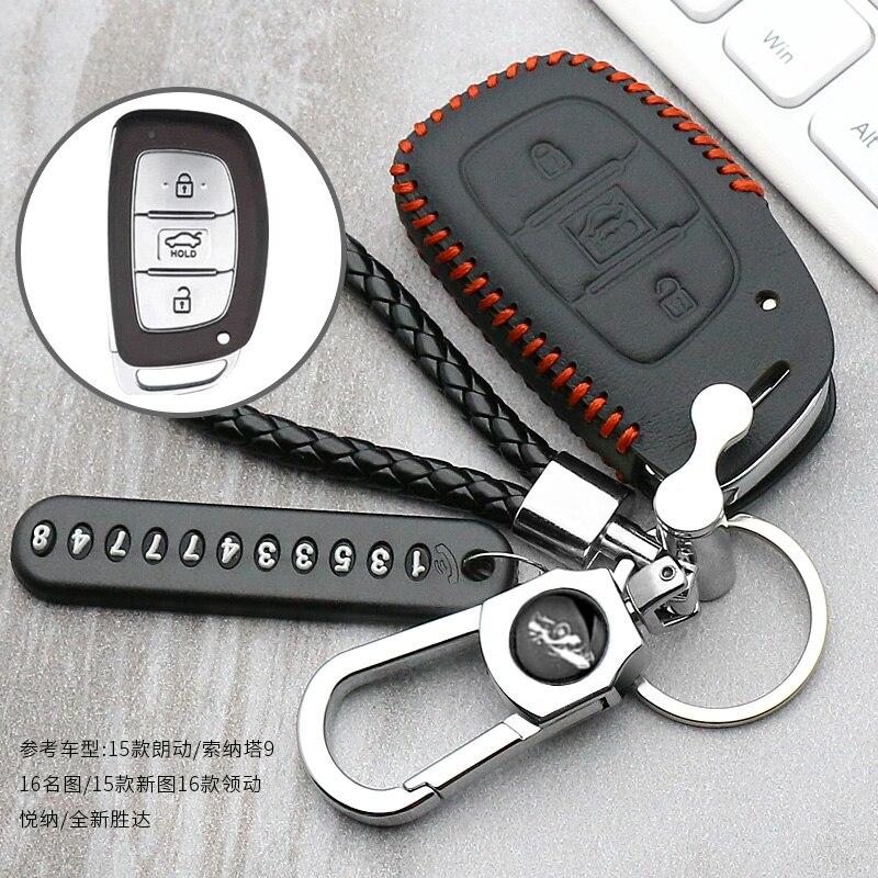 Leather Car Key Case For Hyundai IX30 IX35 IX20 Tucson Elantra Verna Sonata Smart Remote Cover Keychain Protect Bag Accessories