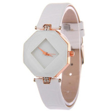 Women Watches Gem Cut Geometry Crystal Leather Quartz Wristwatch Fashion