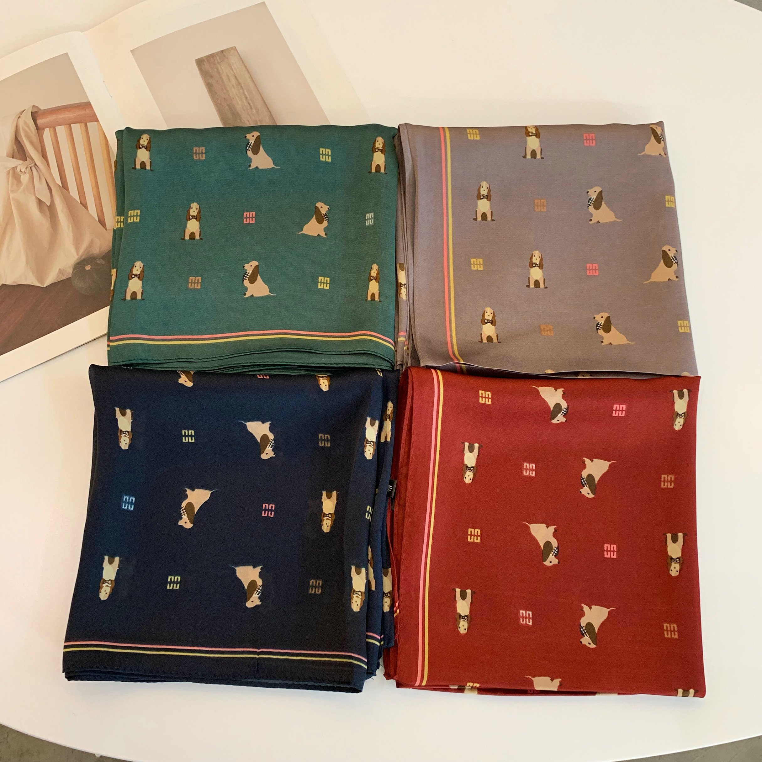 70*70 Printing Dog Small Square Scarf Small Silk Like Scarf Women's Thin Scarf Fashion Scarf