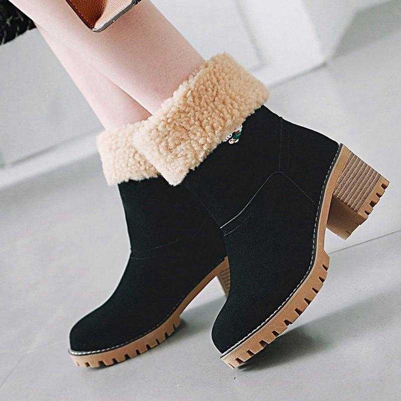 PUIMENTIUA 2019 botas de Invierno para mujer zapatos de mujer botas de tobillo de piel gruesa para mujer zapatos de plataforma de tacón alto botas de nieve