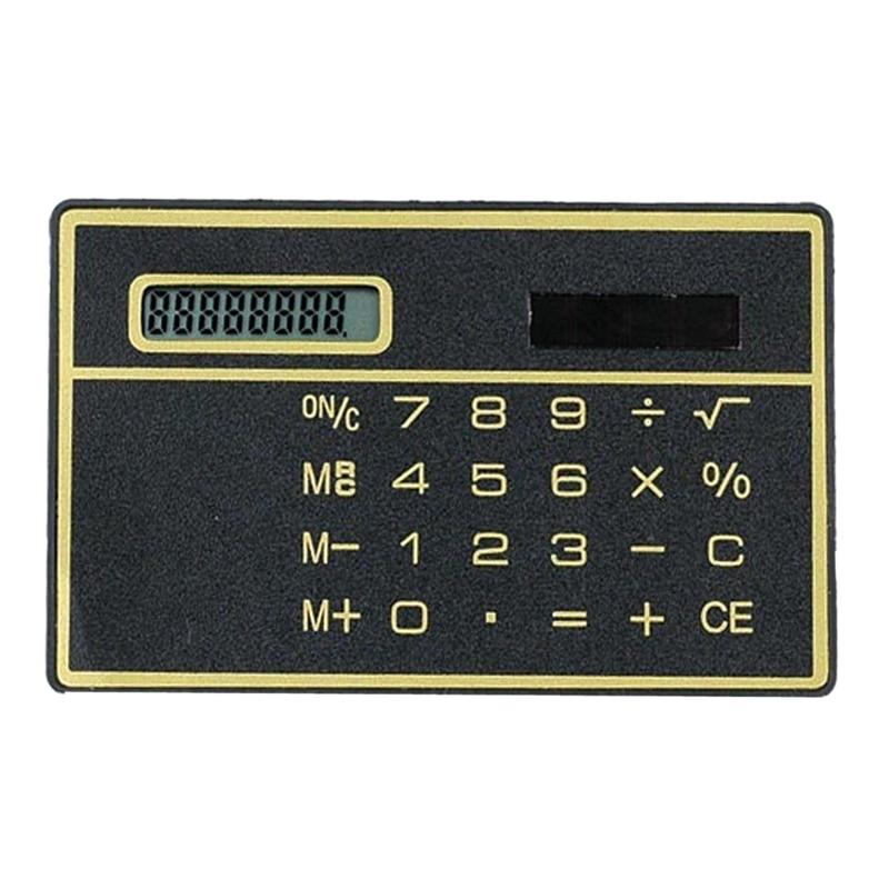 Useful 8 Digits Ultra Thin Mini Slim Credit Card Solar Power Pocket Calculator Random Color