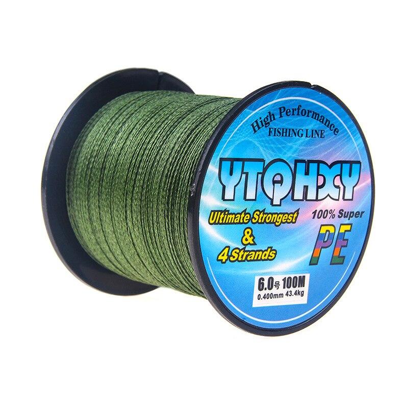 4 серии, 100 метров, сильная Конская леска, основная леска, PE леска, ткацкая рыболовная снасть, кайт леска, многофиламентная рыболовная леска - Цвет: Зеленый