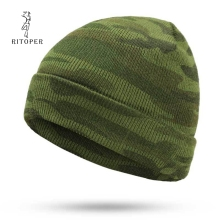 RITOPER Camouflage Knitted Hat Winter Cap Womens Beanie Mens Cotton Keep Wear Unisex  Casual New